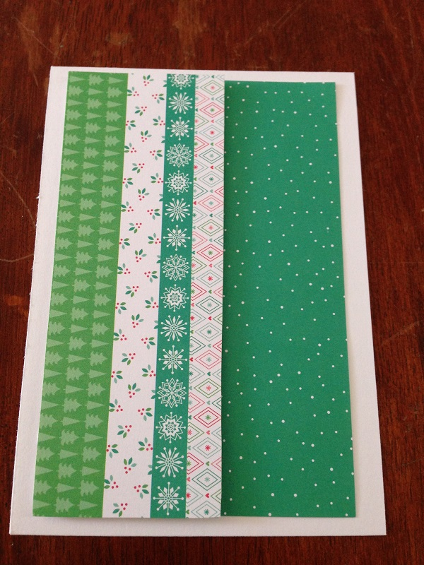Christmas 2014 christmas card making stripes snow for Table 52 cards 2014